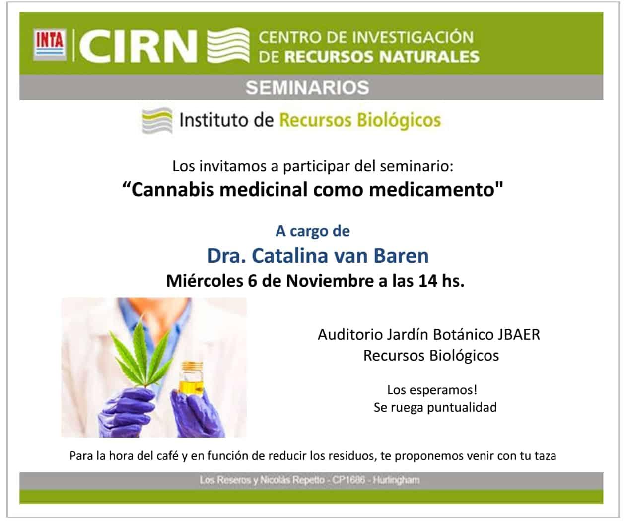 Abierto al público: Taller sobre el cannabis medicinal en el INTA 3
