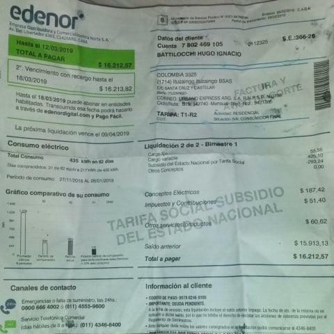 Indignante: Edenor le quiere cobrar a una familia de San Alberto $16.212 pesos de luz 3