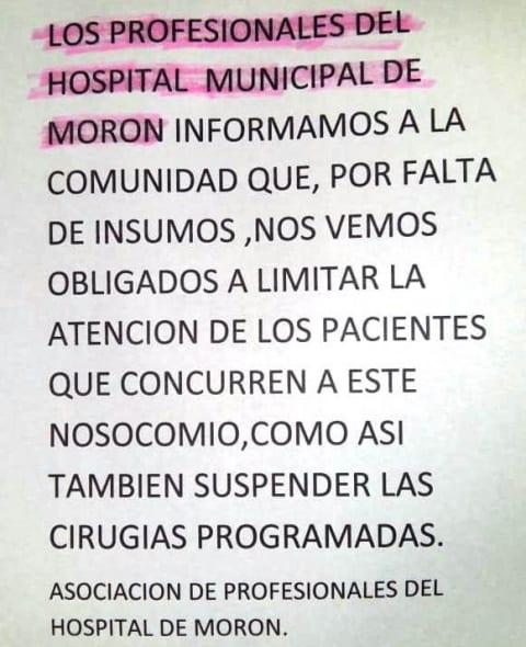 Le llegó el turno al Hospital de Morón: los médicos no atienden por falta de insumos 3