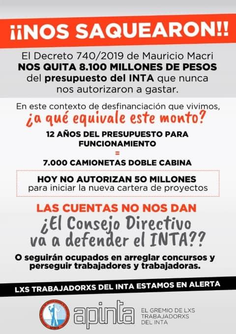 Macri le sacó al INTA 8100 millones de pesos y lo entrega desmantelado 4