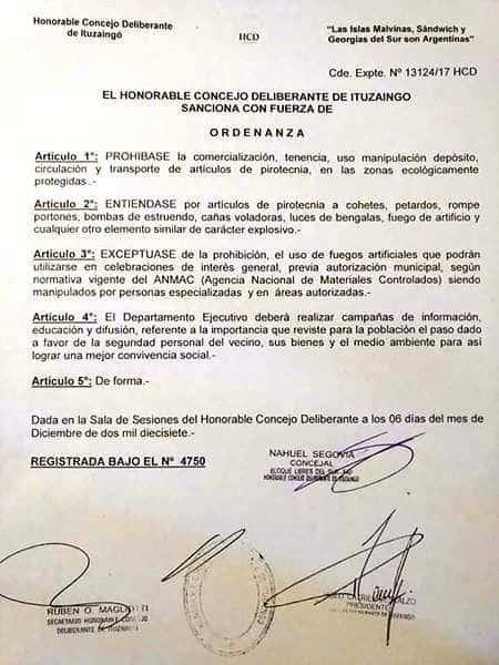 El Municipio prohibió la pirotecnia en Parque Leloir, Barrio Aeronáutico e Ituzaingó Sur 3
