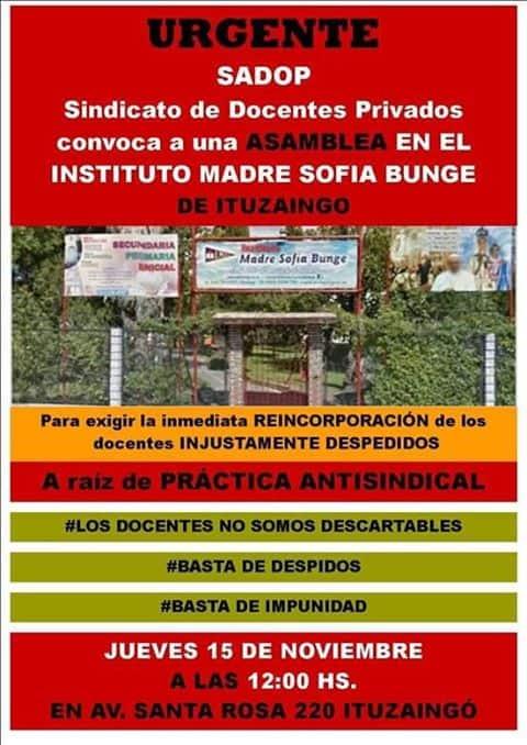 Despidos de docentes en el Colegio Sofía Bunge: asamblea y sentada en las puertas del Instituto 3