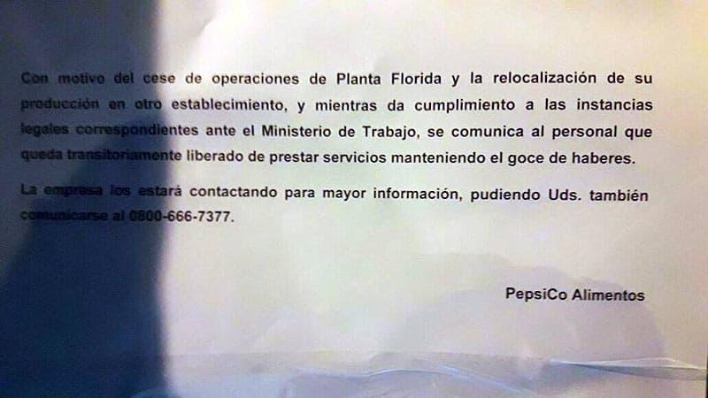 Pepsico despide a 500 trabajadores con un cartelito en la puerta de la fábrica 3