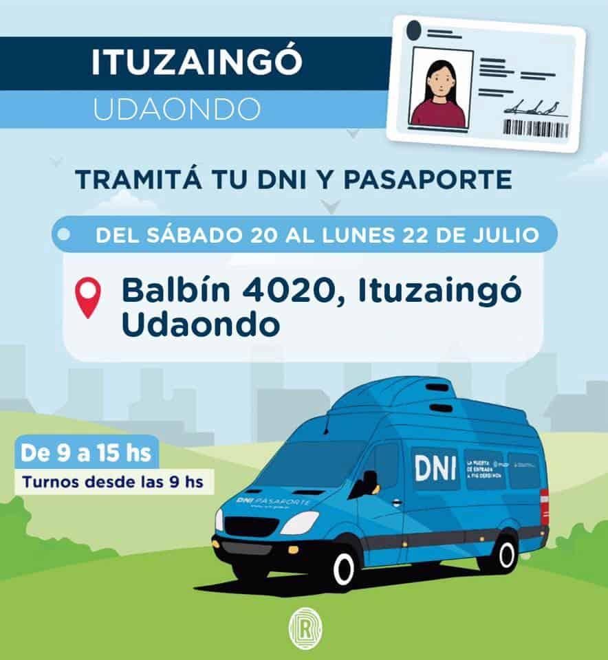 El camión para tramitar el DNI estará en Villa Udaondo desde este sábado hasta el lunes 3