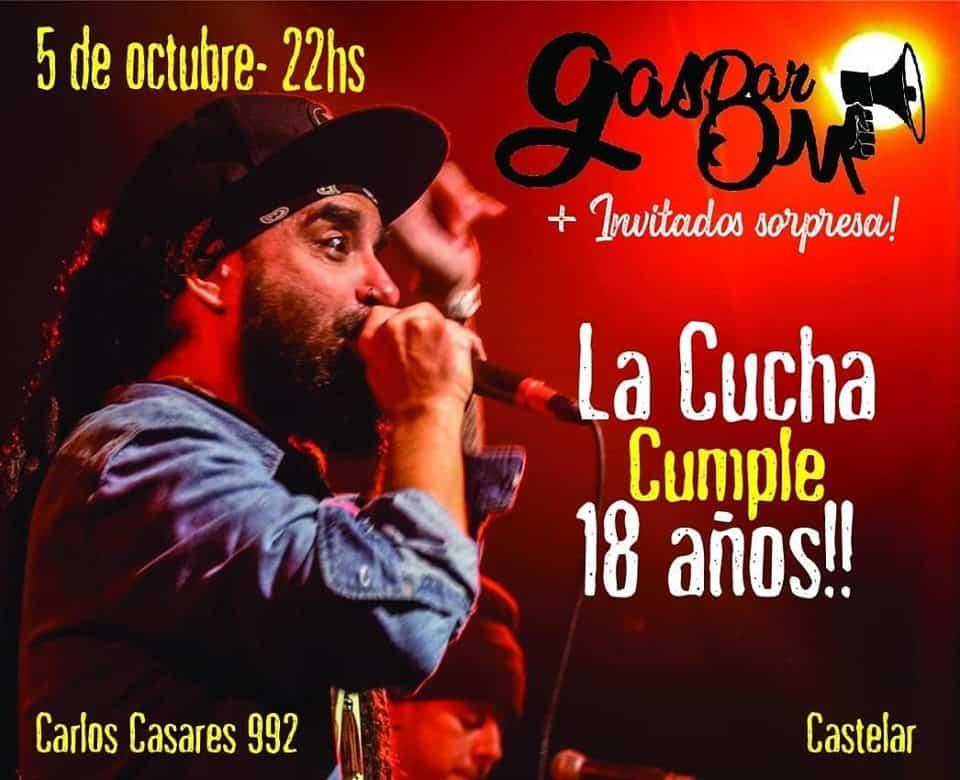 'La Cucha' festeja sus 18 años con show en vivo de Gaspar Om 3