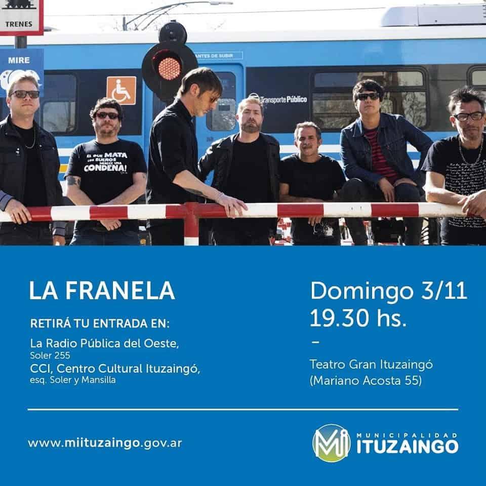 La Franela dará un show gratuito en el Teatro de Ituzaingó 3