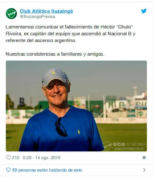 "Ituzaingó de luto: Murió Héctor el ""Chulo"" Rivoira 4"