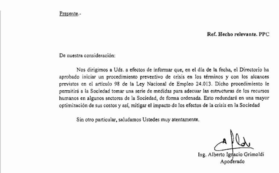 Una importantísima empresa en Castelar entró en crisis y anuncia despidos 3