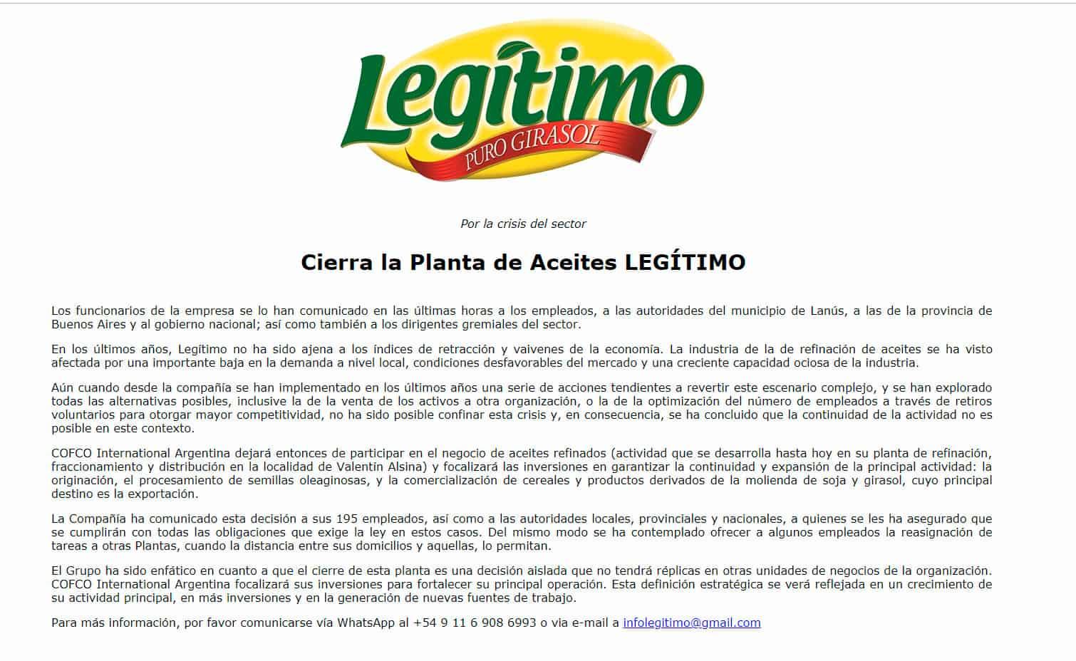 """Más despidos: Aceites """"Legítimo"""" cerró su fábrica y despide a 195 obreros 3"""