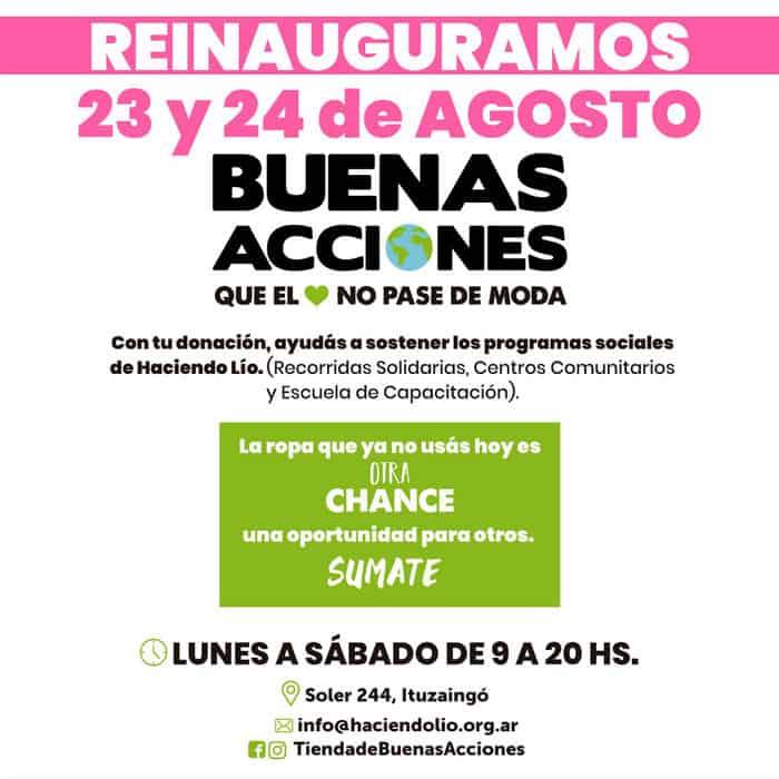 La ONG 'Haciendo Lío' reinauguró en Ituzaingó su tienda solidaria 'Buenas Acciones' 3